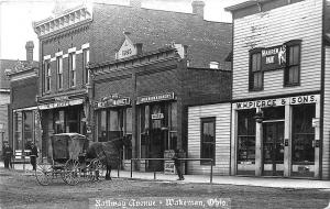 Wakeman OH Railroad Avenue Store Fronts Horse & Wagon RPPC Postcard