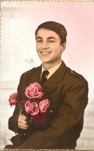 Post card handsome elegant man flower roses bouquet