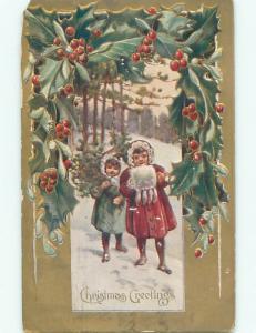 Pre-Linen GIRL WITH MUFF HAND WARMER & BOY WITH CHRISTMAS TREE k1245