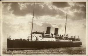 Steamship SS Isle of Guernsey Southern Railway Real Photo Postcard