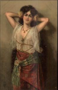 Semi Nude Beautiful Spanish? Woman See-Thru Shirt Flowers in Hair Postcard
