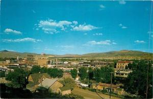 Elko Nevada~Panorama~Stockmen's Cow Billboard~Texaco~Homes~Business~1963 PC
