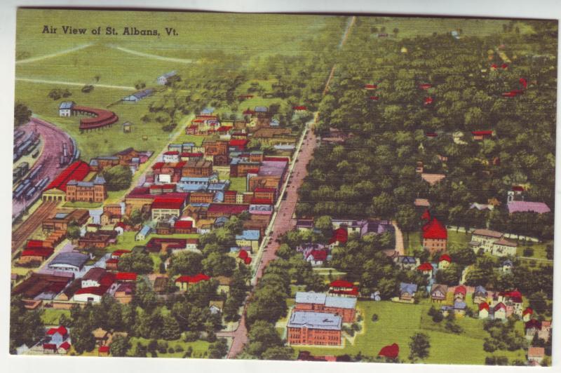 P387 JL old linen postcard air view st. albans vermont