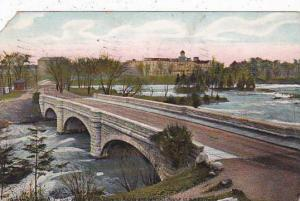 New York Niagara Falls Goat Island Bridge Showing rapids And Cataract House I...