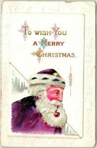 Vintage CHRISTMAS Postcard SANTA CLAUS in Purple Suit / Pipe (Opens) c1910s