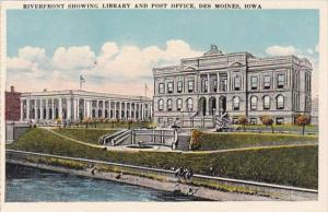 Iowa Des Moines Riverfront Showing Library and Post Office