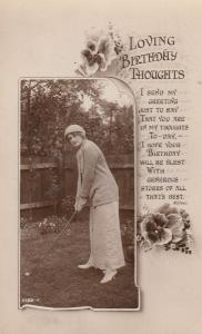 Birthday Thoughts WW1 Golf Antique Greetings Real Photo Postcard