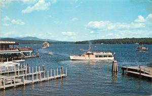 Weirs Beach New Hampshire~Lake Winnipesaukee~Excursion Boat 1950s Postcard