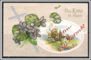 The Lord Is Risen - Flowers - Cross - Glitter- Embossed - [MX-158]