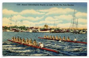 Rowing Race Intercollegiate Regatta Lake Worth Palm Beach Florida postcard