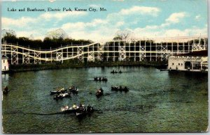 1910 Kansas City, MO Postcard Lake & Boat House, ELECTRIC PARK Roller Coaster