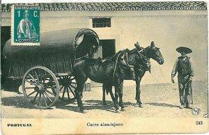 02384 ETHNIC vintage postcard: PORTUGAL - CARRO