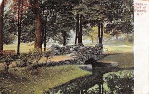 Westerly Rhode Island~Stone Bridge at Park~Shady Benches~1911 Postcard