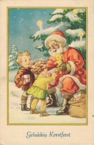Christmas Greetings Santa Claus With Smiles Giving Toys 04.08