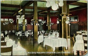1907 WITTER, California Postcard Main Dining Room, WITTER SPRINGS HOTEL Lake Co.