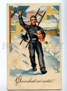 206847 NEW YEAR Pig CHIMNEY SWEEP Vintage Color postcard