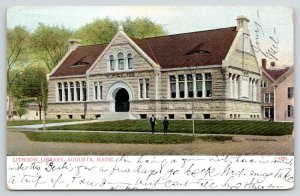 Augusta Maine~Lithgow Library~Arched Entrance~Men on Sidewalk~1907 Postcard