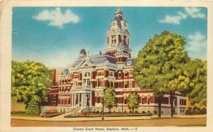 Saginaw, Michigan, MI, County Court House, 1953 Linen Vintage Postcard c2982