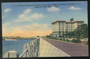Murray Boulevard Charleston SC Vintage 1940 Curteich Linen Postcard