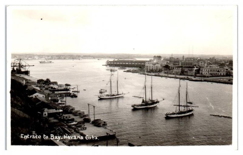 RPPC Entrance to Bay, Havana, Cuba Real Photo Postcard