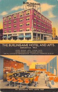 Bartlesville OK~Burlingame Hotel~Coffee Shop~Art Deco Lunch Counter~1950 Linen