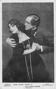 Actors: Miss Doris Keane & Mr. Owen Nares in Romance Movie Scene, Real Photo