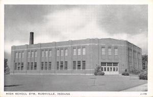Rushville Indiana~High School Gym~Triple Door Pairs~Smokestack~1940 B&W Postcard