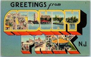 1940s ASBURY PARK New Jersey Large Letter Postcard Tichnor Linen #63887 UNUSED