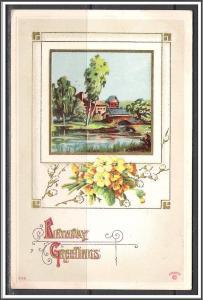 Birthday Greetings - Scenic Landscape - Flowers - Embossed - [MX-171]