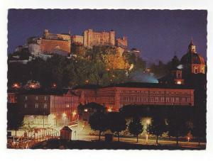 Austria Salzburg Fortress at Night Festival City Postcard