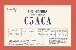 QSL AMATEUR RADIO CARD – BANJUL, THE GAMBIA – 1981