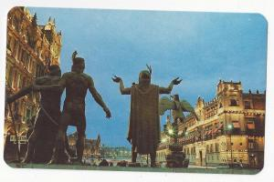 Mexico Monument Founders of Tenochtitlan Statues Postcard