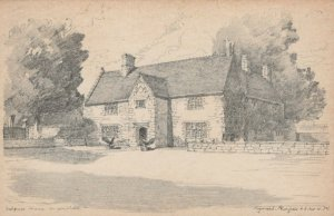 Northamptonshire Postcard - Pencil Sketch of Sulgrave Manor   RS22373