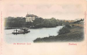 Am Winterhuder Canal, Hamburg, Germany, Early Postcard, Unused