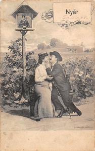 Nyar Summer, Elegant Couple Kiss, countryside crossroad, field 1904