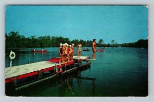 Bayport Long Island NY-New York, CAMP EDEY Girl Scouts Swimming c1960 Postcard