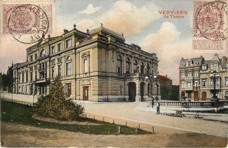 Verviers Belgium. Le Theatre Divided Back Postcard. 2 Stamps, Cancels On Front