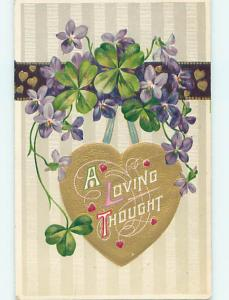Divided-Back LOVING THOUGHT ON A GOLDEN HEART ON POSTCARD o7527