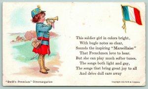 Swift's Premium Oleomargarine~French Soldier Girl~Bugle Notes~Flag~1914 Adv PC