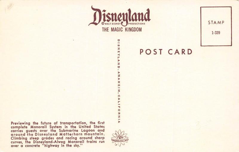 Disneyland Monorail System, Anaheim, California, Postcard, Unused