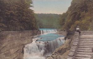 Lower Falls Genesee River Letchworth State Park P O Castile New York Handcolo...