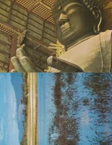 Nara Daibutsu Pagoda 2x Japan Japanese Postcard