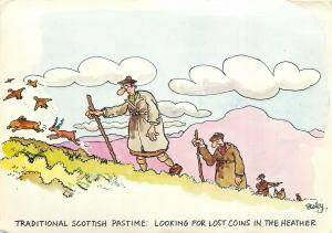 Traditional scottish pastime comic postcard