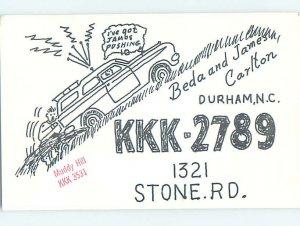 Pre-1980 RADIO CARD - CB HAM OR QSL Durham North Carolina NC AH2248