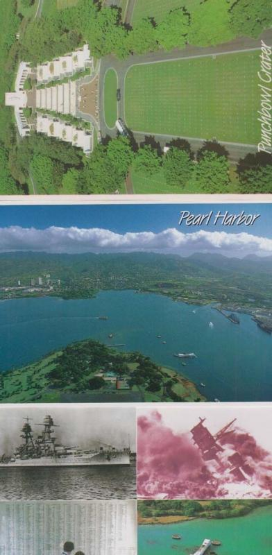 USS Arizona Ship Pearl Harbour Punchbowl Crater Dead 3x USA Military Postcard s