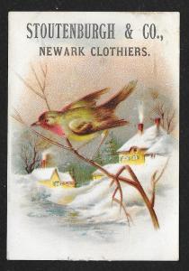 VICTORIAN TRADE CARD Stoutenburgh & Co Newark Clothiers