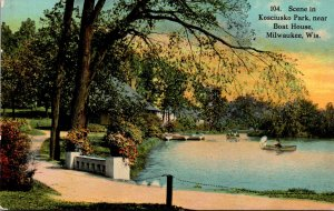 Wisconsin Milwaukee Scene In Kosciusko Park Near Boat House 1912