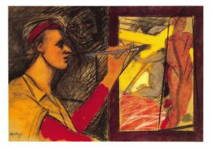 Art Postcard, The Painter (Cross and Chimney) 1984-5 by R.B Kitaj MU1948