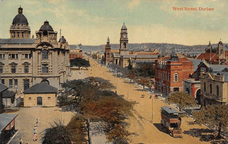 South Africa West Street tramway Durban postcard