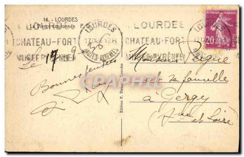 Old Postcard The Crowned Virgin Lourdes